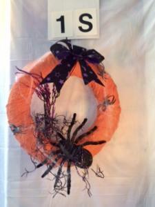 Orange Halloween wreath with spider