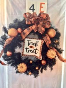 Halloween wreath with Trick or Treat and pumpkin decor